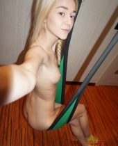 Skinny blonde gamer girl shows off her sex swing.